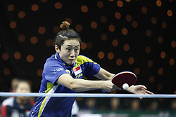 February 23, 2018 - London, England, United Kingdom - Tianwei FENG of Singapore during ITTF Team World Cup match between Kasumi ISHIKAWA of Japan and Tianwei FENG of Singapore, Quarter Finals Women singles match on February 23, 2018 in Copper Box Arena, Olympic Park, London. (Credit Image: © Dominika Zarzycka/NurPhoto via ZUMA Press)