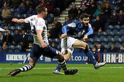 Preston North End Defender Paul Huntington blocks during the Sky Bet Championship match between Preston North End and Birmingham City at Deepdale, Preston, England on 15 December 2015. Photo by Pete Burns.