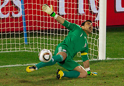 Goalkeeper of Paraguay Justo Villar during the penalty shots after 0-0 in overtime during the 2010 FIFA World Cup South Africa Round of Sixteen football match between Paraguay and Japan on June 29, 2010 at Loftus Versfeld Stadium in Tshwane/Pretoria. (Photo by Vid Ponikvar / Sportida)