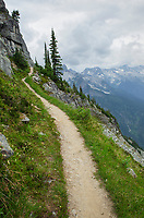 Abbott Ridge Trail along cliffs below Mount Abbott. Selkirk Mountains Glacier National Park British Columbia