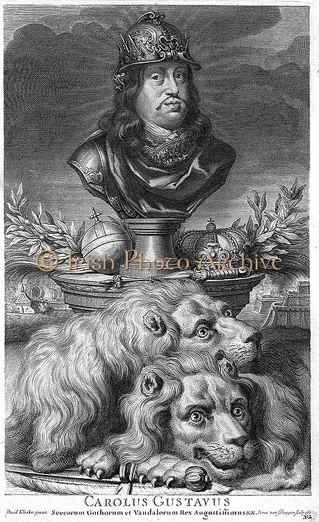 Charles X Gustav {1622 – 1660) King of Sweden 1654 1660. Engraving