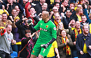 Watford Heurelho Gomes celebrates the opening goal during the Sky Bet Championship match between Brighton and Hove Albion and Watford at the American Express Community Stadium, Brighton and Hove, England on 25 April 2015. Photo by Phil Duncan.