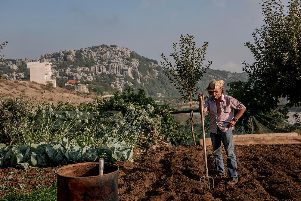 A farmer takes break  in Mount Lebanon, farms his agricultural land.