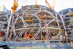 North America, United States, Washington, Seattle. Construction work on a three-domed biosphere in downtown Seattle which will house Amazon.com workers.