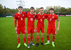 NEWPORT, WALES - Monday, October 14, 2019: Wales' Merseyside based players; Morgan Boyes (Liverpool), Rhys Hughes (Everton), Ryan Astley (Everton), and Neco Williams (Liverpool) after an Under-19's International Friendly match between Wales and Austria at Dragon Park. Wales won 2-0. (Pic by David Rawcliffe/Propaganda)