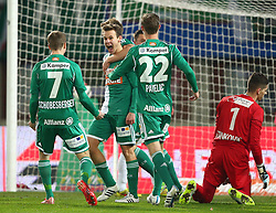 14.03.2015, Ernst Happel Stadion, Wien, AUT, 1. FBL, SK Rapid Wien vs SV Scholz Groedig, 25. Runde, im Bild Torjubel Philipp Schobesberger (SK Rapid Wien), Louis Schaub (SK Rapid Wien), Robert Beric (SK Rapid Wien), Mario Pavelic (SK Rapid Wien) und ein enttaeuschter Cican Stankovic (SV Scholz Groedig) am Boden // during a Austrian Football Bundesliga Match, 25th Round, between SK Rapid Vienna and SV Scholz Groedig at the Ernst Happel Stadion, Wien, Austria on 2015/03/14. EXPA Pictures © 2015, PhotoCredit: EXPA/ Thomas Haumer