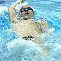 jamestown's Matt Marsh during the backstroke leg of 200 IM 12-1-15 photo by Mark L. Anderson