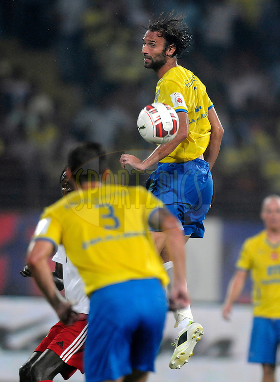 Cedric Hengbart of Kerala Blasters FC during match 49 of the Hero Indian Super League between Kerala Blasters FC and North East United FC held at the Jawaharlal Nehru Stadium, Kochi, India on the 30th November.<br /> <br /> Photo by:  Pal Pillai/ ISL/ SPORTZPICS