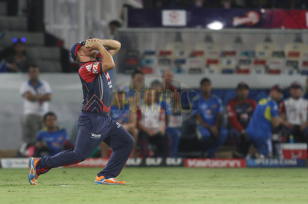 Aaron Finch of the Delhi Daredevils takes a catch off a no ball during match 46 of the Indian Premier League ( IPL ) between the Deccan Chargers and the Delhi Daredevils held at the Rajiv Gandhi International Cricket Stadium in Hyderabad on the 5th May 2011..Photo by Shaun Roy/BCCI/SPORTZPICS