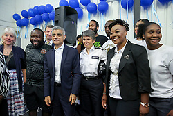 © London News Pictures. 27/06/2017. London, UK.The Mayor of London, Sadiq Khan, the Met Police Commissioner, Cressida Dick and Pastor Lorraine Jones. The Mayor of London, Sadiq Khan and the Met Police Commissioner, Cressida Dick, launches a knife crime strategy at Dwaynamics Boxing Club, which will tackle the deeply concerning rise in knife crime across the capital, especially among young Londoners. Photo credit: Dinendra Haria/LNP