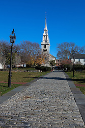 Cobblestone walkway to Trinity Church, Newport, Rhode Island, United States of America
