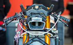 October 20, 2017 - Melbourne, Victoria, Australia - Close of the front of the bike belonging to Spanish rider Maria Herrera (#6) of AGR Team before the first free practice session of the Moto3 class at the 2017 Australian MotoGP at Phillip Island, Australia. (Credit Image: © Theo Karanikos via ZUMA Wire)