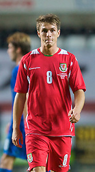 SWANSEA, ENGLAND - Friday, September 4, 2009: Wales' Aaron Ramsey celebrates after his goal sealed a 2-1 victory over Italy during the UEFA Under 21 Championship Qualifying Group 3 match at the Liberty Stadium. (Photo by David Rawcliffe/Propaganda)