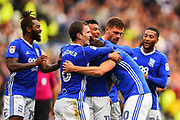 The Blues celebrate after Birmingham City forward Lukas Jutkiewicz (10) scores a goal to make it 0-1 during the EFL Sky Bet Championship match between Derby County and Birmingham City at the Pride Park, Derby, England on 23 September 2017. Photo by Jon Hobley.