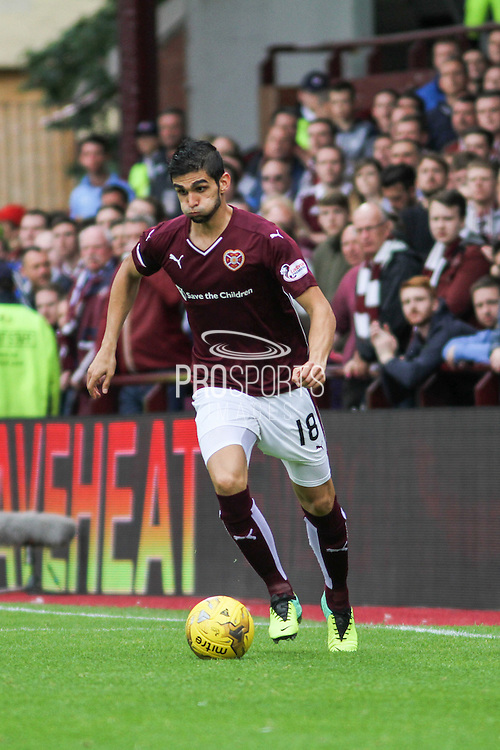 Igor Rossi on the attack during the Ladbrokes Scottish Premiership match between Heart of Midlothian and St Johnstone at Tynecastle Stadium, Gorgie, Scotland on 2 August 2015. Photo by Craig McAllister.