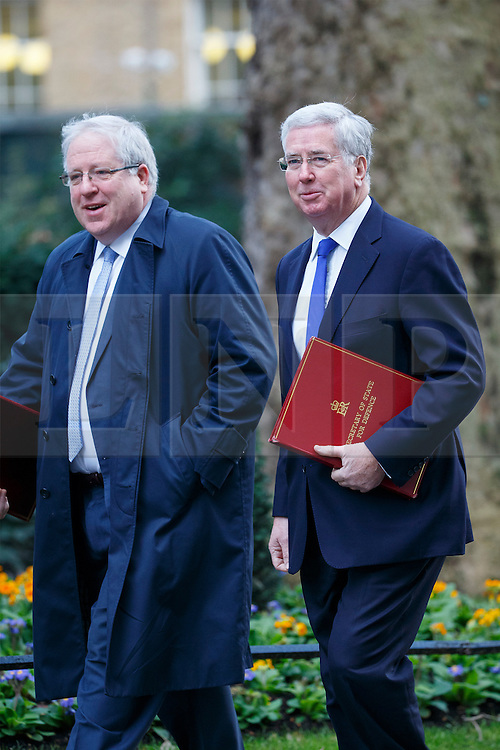 © Licensed to London News Pictures. 17/01/2017. London, UK. Conservative party chairman PATRICK MCLOUGHLIN and Defence secretary MICHAEL FALLON attend a cabinet meeting in Downing Street on Tuesday, 17 January 2017 before Prime Minister Theresa May's Brexit plan speech. Photo credit: Tolga Akmen/LNP