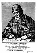 Euclid (active 300 BC) Ancient Greek mathematician. Frontispiece of an edition of his 'Elements of Geometry' published London 1661.
