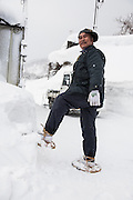 The local something-man and his homemade snowshoes at the trailhead to a backcountry pillow zone. Hakuba, Japan.