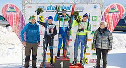 27.01.2018, Bad Mitterndorf, AUT, 39. Internationaler Steiralauf, 50 km Freie Technik, im Bild v. l. Organisationsleiter Helmut Fuchs, Markus Rothberger (AUT), 2. Platz, Matthias Fugger (AUT), 1. Platz, Stefan Falk (GER), 3. Platz, Bürgermeister von Bad Mitterndorf Manfred Ritzinger // f. l. event manager Helmut Fuchs, 2nd placed Markus Rothberger of Austria, 1st placed Matthias Fugger of Austria, 3rd placed Stefan Falk of Germany, mayor of Bad Mitterndorf Manfred Ritzinger during the 39th international Steiralauf 50 km Freestyle in Bad Mitterndorf, Austria on 2018/01/27. EXPA Pictures © 2018, PhotoCredit: EXPA/ Martin Huber