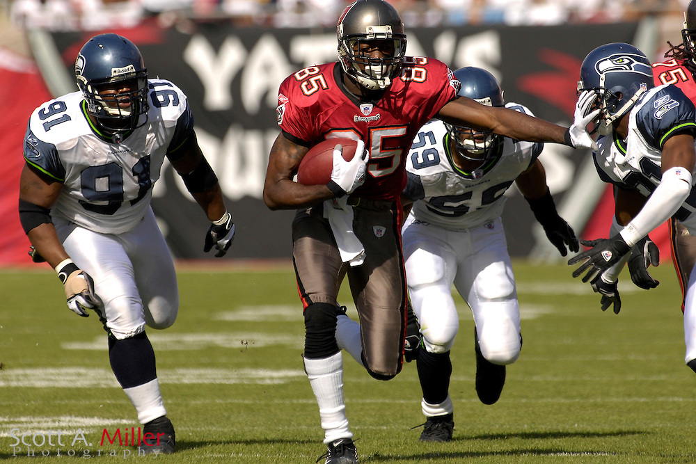 Dec. 31, 2006; Tampa, FL, USA; Tampa Bay Buccaneers receiver (85) Maurice Stovall heads up field as he is chased by the Seattle Seahawks defense during the first quarter of their game at Raymond James Stadium. ...©2006 Scott A. Miller