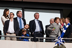 Sir Alex Ferguson and his family celebrate at the final whistle, as his son and Peterborough Manager Darren Ferguson leads his side to a 3-0 victory in the match - Photo mandatory by-line: Rogan Thomson/JMP - 07966 386802 - 30/03/2014 - SPORT - FOOTBALL - Wembley Stadium, London - Chesterfield FC v Peterborough United - Johnstone's Paint Trophy Final.