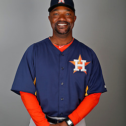 Feb 21, 2013; Kissimmee, FL, USA; Houston Astros first base coach Dave Clark (35) during photo day at Osceola County Stadium. Mandatory Credit: Derick E. Hingle-USA TODAY Sports
