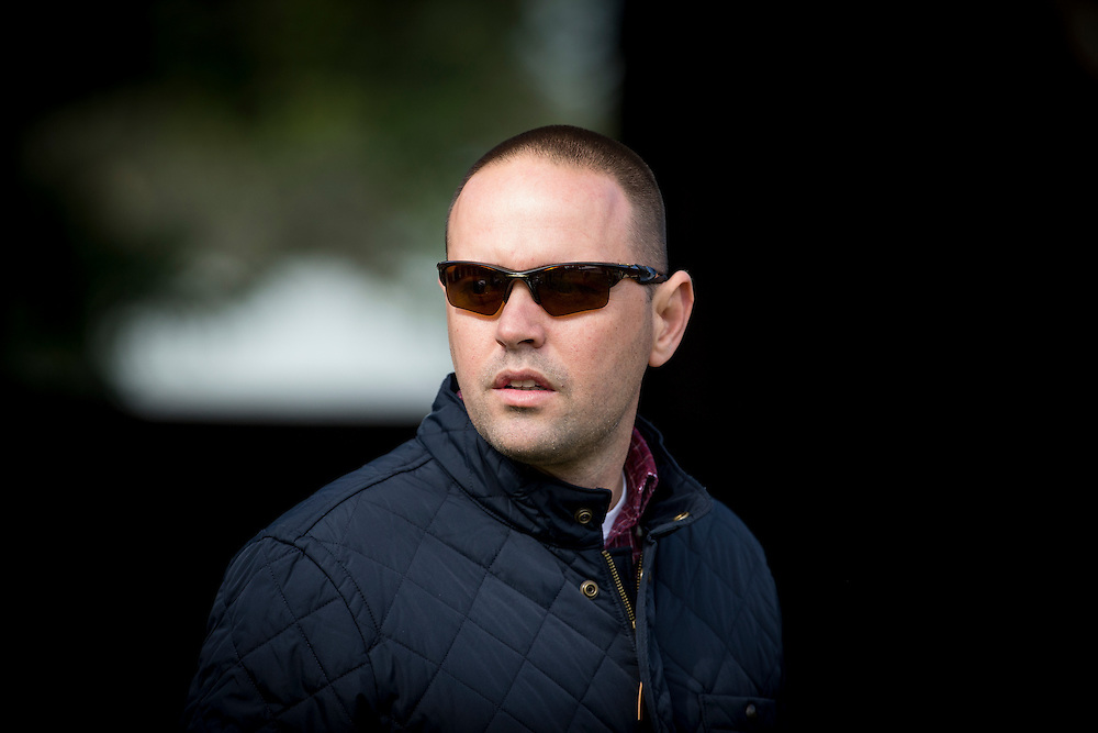 October 29, 2015: Trainer, Chad Brown watches his horses school for the Breeders' Cup at Keeneland Race Course, Lexington KY. Alex Evers/ESW/CSM