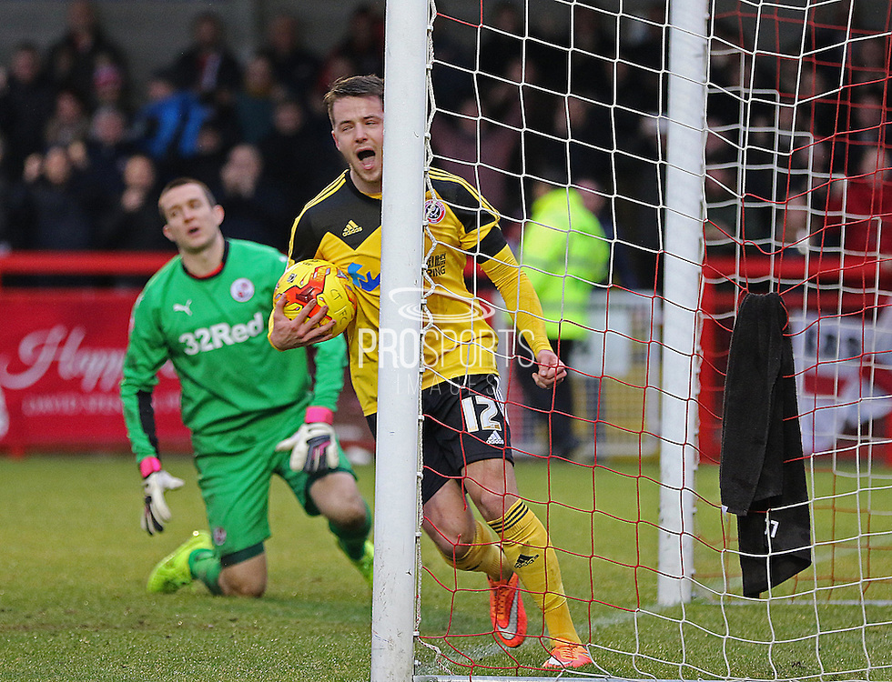 Sheffield United Marc McNulty celebrates the equaliser during the Sky Bet League 1 match between Crawley Town and Sheffield Utd at the Checkatrade.com Stadium, Crawley, England on 28 February 2015. Photo by Phil Duncan.