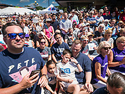 13 AUGUST 2019 - DES MOINES, IOWA: Some of the crowd gathered to hear Pete Buttigieg at the Des Moines Register Political Soap Box. Buttigieg, the Mayor of South Bend, Indiana, is running to be the Democratic nominee for the US presidency. He spoke at the Des Moines Register Political Soap Box at the Iowa State Fair and then toured the fairgrounds. Iowa has the first event of the presidential selection cycle. The Iowa Caucuses are February 3, 2020.               PHOTO BY JACK KURTZ