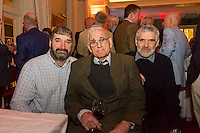 (l to r) Ian Dixon, Roy Dixon, and David Dixon at the reunion night to celebrate 50 years of the Irish Fireball Class, held at the Royal St George YC.