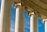 USA, Washington DC. Columns surrounding the Jefferson Memorial.