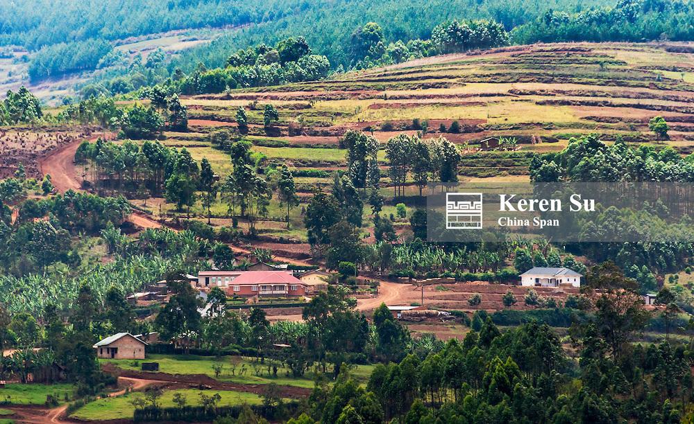 Village and farmland in the mountain, southwest Uganda