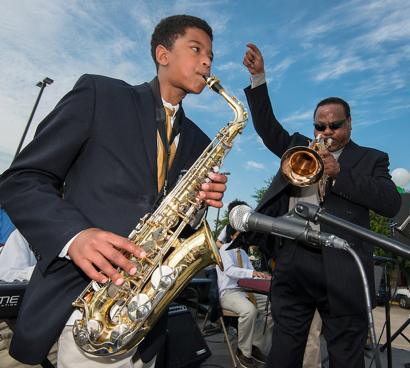 The Mickey Leland Jazz Band performs during groundbreaking ceremonies for the Mickey Leland College Preparatory Academy, April 16, 2015.