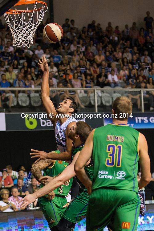 Breakers` Tai Wesley in the game between SkyCity Breakers v Townsville Crocodiles. 2014/15 ANBL Basketball Season. North Shore Events Centre, Auckland, New Zealand, Friday, December 19, 2014. Photo: David Rowland/Photosport