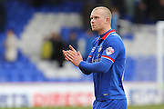 Curtis Main of Oldham Athletic applauds the fans at the end of the Sky Bet League 1 match between Oldham Athletic and Chesterfield at Boundary Park, Oldham, England on 28 March 2016. Photo by Simon Brady.