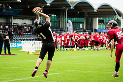 Kent Exiles catches a pass for a two point conversion - Mandatory by-line: Jason Brown/JMP - 27/08/2016 - AMERICAN FOOTBALL - Sixways Stadium - Worcester, England - Kent Exiles v East Kilbride Pirates - BAFA Britbowl Finals Day