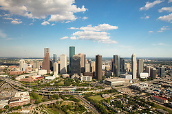 Western aerial view of downtown Houston,Texas skyline.