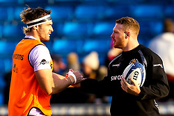 Don Armand of Exeter Chiefs and Sam Simmonds of Exeter Chiefs - Mandatory by-line: Robbie Stephenson/JMP - 08/12/2019 - RUGBY - AJ Bell Stadium - Manchester, England - Sale Sharks v Exeter Chiefs - Heineken Champions Cup