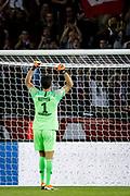 PSG Gianluigi Buffon celebrates with fans after winning the French championship L1 football match between Paris Saint-Germain (PSG) and Caen on August 12th, 2018 at Parc des Princes, Paris, France - Photo Geoffroy Van der Hasselt / ProSportsImages / DPPI