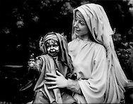 A Madonna adores a stainless steel baby Jesus on campus of Crystal Cathedral, Garden Grove, California.