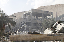 April 14, 2018 - Damascus, Syria - Remnants of the Scientific Research Center in the Barzeh neigborhood of northeast of Damascus, after United States, Britain and France carried out a wave of joint airstrikes on Syrian military facilities. The U.S., along with its allies Britain and France, launched missile strikes on Syrian military positions earlier on Saturday. (Credit Image: © Monsef Memari/Xinhua via ZUMA Wire)