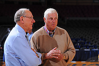 JIm Calhoun (left) and Bobby Knight before the 2K Sports Classic at Madison Square Garden.