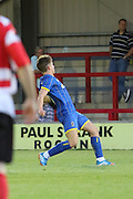 George Pilbeam during the match between Kingstonian and AFC Wimbledon at the Cherry Red Records Stadium, Kingston, England on 30 July 2015. Photo by Stuart Butcher.