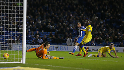 Tomer Hemed of Brighton and Hove Albion scores to make it 3-0 - Mandatory byline: Paul Terry/JMP - 29/02/2016 - FOOTBALL - Falmer Stadium - Brighton, England - Brighton v Leeds United - Sky Bet Championship