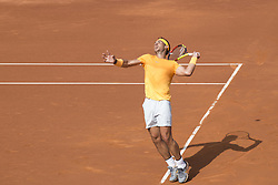 April 28, 2018 - Barcelona, Barcelona, Spain - RAFAEL NADAL serves during the semifinal against DAVID GOFFIN in the Barcelona Open Banc Sabadell 2018. RAFAEL NADAL won the match 6-4 6-0. (Credit Image: © Patricia Rodrigues/via ZUMA Wire via ZUMA Wire)