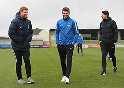 Coventry City's Chris Stokes (middle), who spent five years at Forest Green Rovers, inspects the pitch, as he returns to The New Lawn