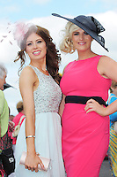 29/07/2014  Orla O Connor from Cullen Cork and Maria Ryan from Killoscully at the Tuesday evening meeting of the Galway Summer racing Festival. Photo: Andrew Downes