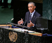 Barack Obama, President of the United States, addresses the Climate Change Summit at the United Nations in New York, Tuesday, Sept. 23, 2014. (Photo/Stuart Ramson/United Nations Foundation)