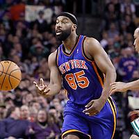 04 March 2012: New York Knicks point guard Baron Davis (85) passes the ball during the Boston Celtics 115-111 (OT) victory over the New York Knicks at the TD Garden, Boston, Massachusetts, USA.