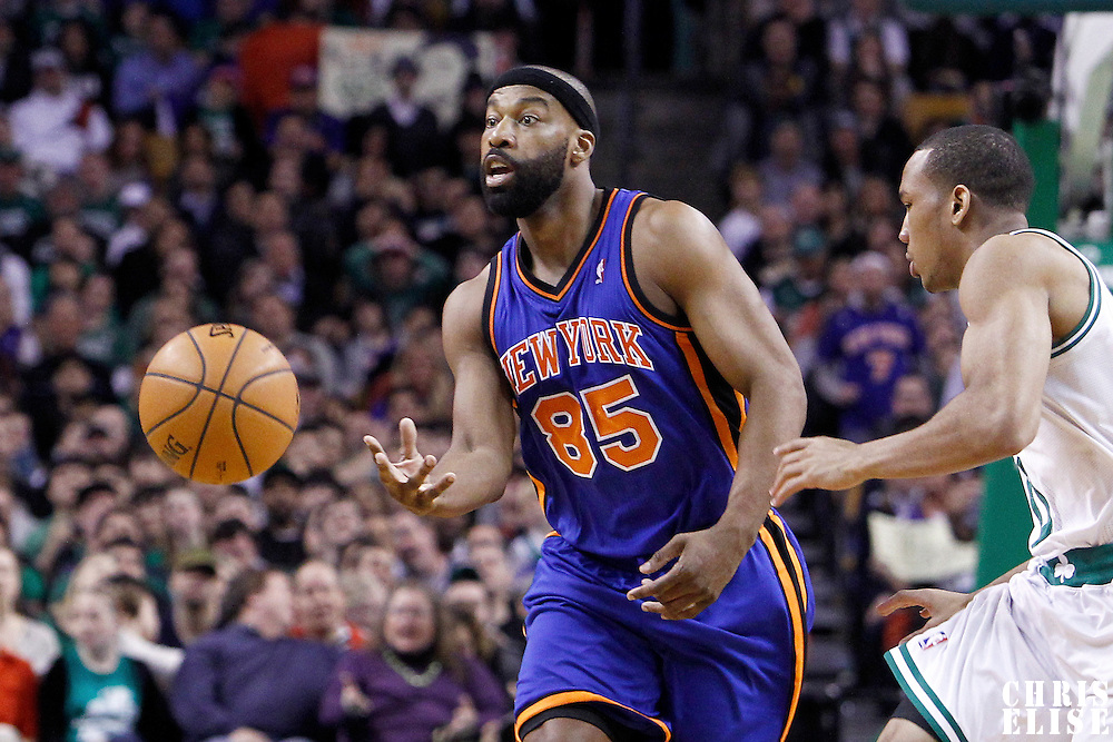 04 March 2012: New York Knicks point guard Baron Davis (85) passes the ball during the Boston Celtics 115-111 (OT) victory over the New York Knicks at the TD Garden, Boston, Massachusetts, USA.